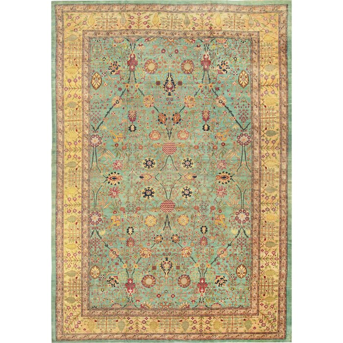 One-of-a-Kind+Agra+Hand-Knotted+Before+1900+Gold+16+x+2211+Wool+Area+Rug